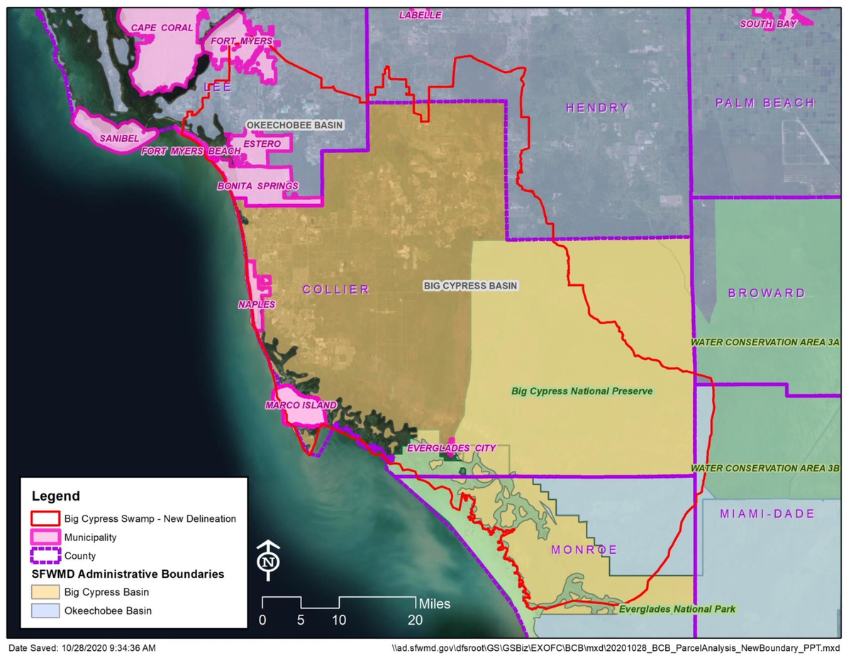 Big Cypress Basin current and proposed boundaries
